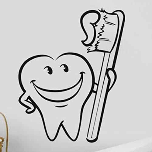 zhuzhuwen Muursticker S, waterdicht vinylbehang muurkunst, tandarts SS tandenborstel en tandenborstel afneembaar 56X70 cm