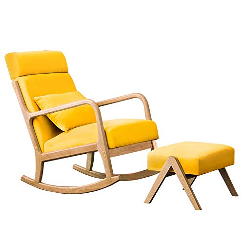 HWZQHJY Nordic Style Rocking Chair, Zero Gravity Lounge Chair, Rocker Relax Chair with Footstool, for Living Room Bedroom Balcony Coffee Shop Office (Color : Yellow)