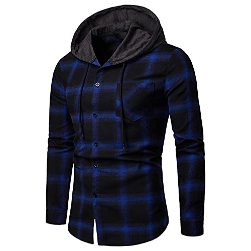 Sudadera con capucha para hombre, chaqueta a cuadros, con cordón, bolsillo con capucha, resistente a las heladas y al viento., Azul1, S