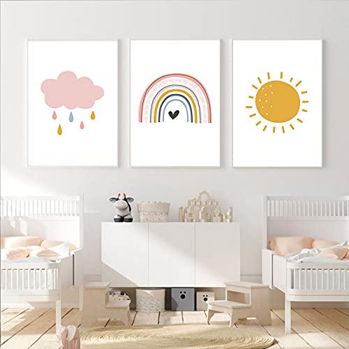 Cartel de arcoíris, nube de sol, gota de lluvia, arte de pared, arte de pared, lienzo de guardería para bebés, pintura, cuadros abstractos, decoración 20x35cm (8x14in) x3 sin marco