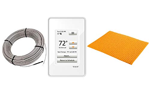 Schluter Ditra Heat E Radiant Floor Heating Kit Touch Screen Thermostat + Membrane + Heating Cable (120V 64SqFt Heat Kit)