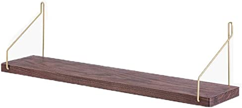 Shelf Rack Partition Wall Solid Wood Wall Hanging Hook Living Room TV Background Wall Storage Rack (Color : Wood color, Si...