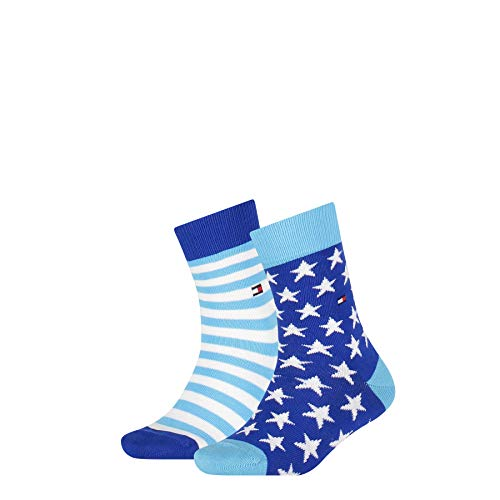 Tommy Hilfiger Boys Stars and Stripes Unisex Kids (2 Pack) Socks, blue combo, 31-34