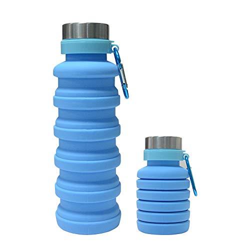 Botellas de agua plegables portátiles a prueba de fugas para viajes al aire libre gimnasio senderismo Unisex 550ml (azul)