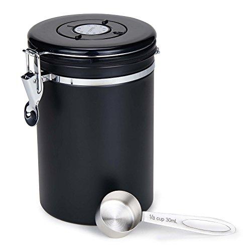 Kaffeedose Luftdicht Movaty Edelstahl Aromadose Vorratsdose Aromadicht Vakuum Kaffeebox mit Löffel für Kaffeebohnen Kaffeepulver Tee Nüsse Kakao Aufbewahrung Schwarz