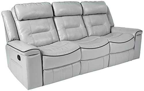Homelegance Darwan 88' Leather Gel Double Reclining Sofa, Light Gray