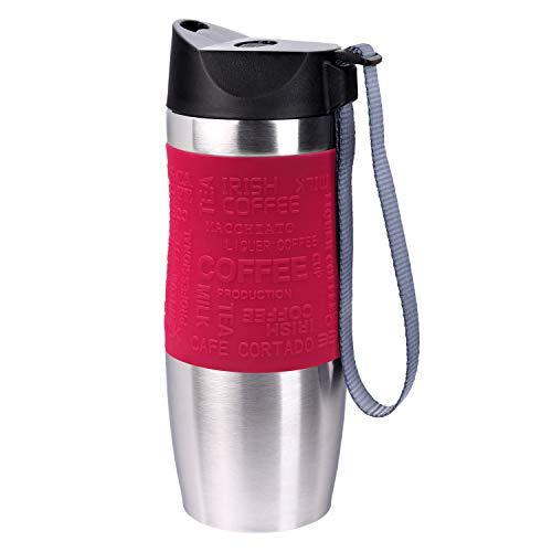 PRESIT Mug Thermobecher to go - 370 ml, 100% dichter Schnellverschluss, Kaffeebecher, Trinkflasche, Isolierbecher aus Edelstahl - rot