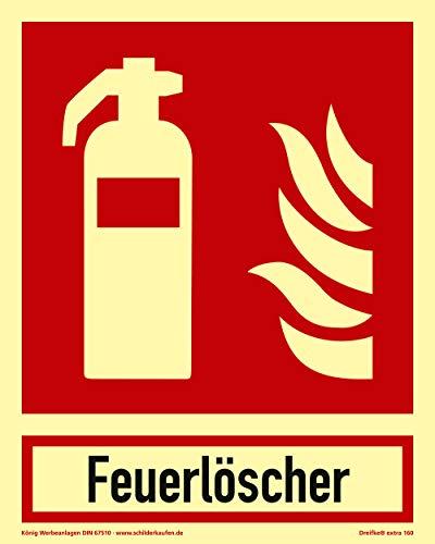 Bord brandblusser | extra lang oplichtend | PVC zelfklevend 200x250mm | met opschrift brandblusser | DIN EN ISO 7010 F001 | DIN 67510 (brandbeveiliging) Dreifke® extra 160