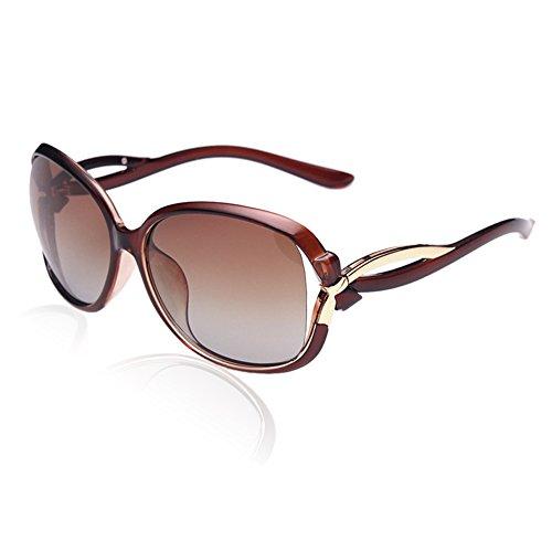 DUCO Damen Sonnenbrille Polarisiert stilvolle Star Brille 100% UV-Schutz 2229 (Braun)