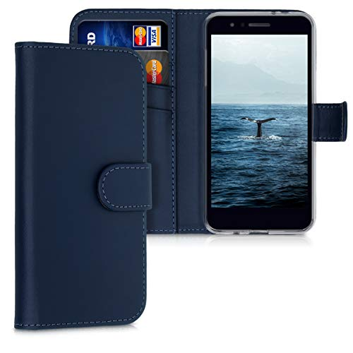kwmobile Wallet Case Compatible with LG K8 (2018) / K9 - PU Leather Flip Cover with Magnetic Closure, Card Slots and Kickstand - Dark Blue