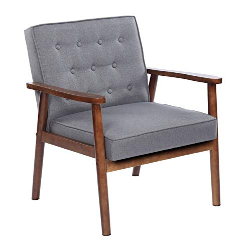 Comfortable & Stylish Accent Chair for Living Room, Retro Modern PU Upholstered & Wooden Single Reading Chair, 29.53 x 27.17 x 33.07, Gray Fabric