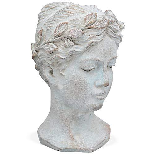 Matches21 - Busto de mujer con corona pequeña, cerámica, aspecto antiguo, decoración vintage, color crema, blanco, mujer, 1 unidad, 16 x 15 x 23 cm