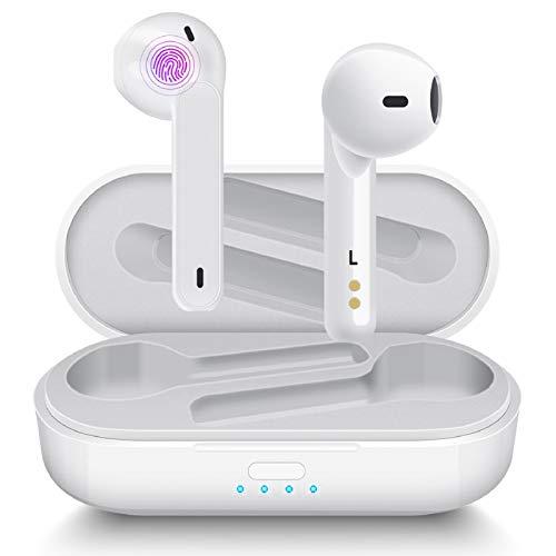 Auriculares Inalámbricos Aoslen Auriculares Bluetooth TWS Bluetooth 5.0 con Micrófono HiFi IPX5 Impermeabile Control Táctil para iPhone Xiaomi Samsung Huawei Android(Blanco)