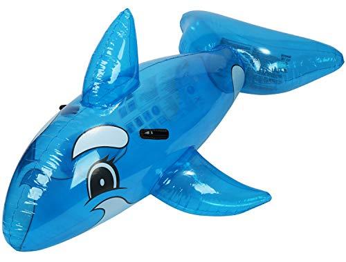 com-four® Schwimmtier aufblasbar im Walfisch Design - Badetier in blau für Strand und Pool - Luftmatratze - Badeinsel - Wasserspielzeug (Wal - blau)