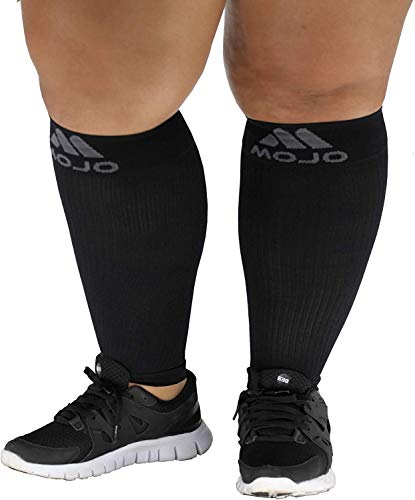 5XL Mojo Compression Extra Wide Plus Size Calf Sleeves for Women and Men - Footless, Bariatric Sized XXXXX-L, Black - 20-30mHg