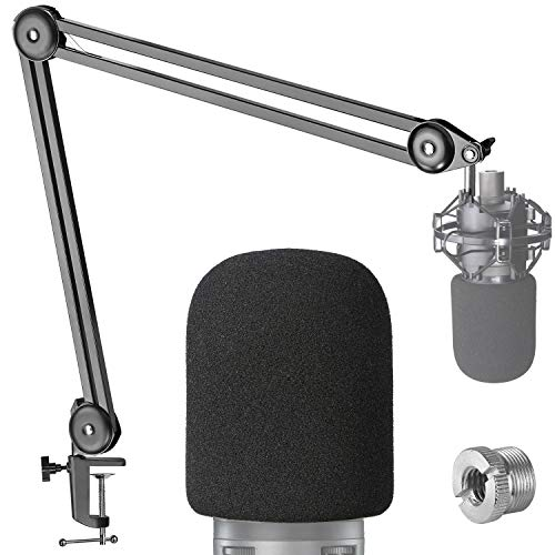 AT2020 Boom Arm Mic Stand with Pop Filter - Professional Broadcast Boom Arm for Audio-Technica AT2020 Mic with Foam Windscreen by YOUSHARES