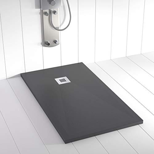 Shower Online Plato de ducha Resina PLES - 70x90 - Textura Pizarra - Antideslizante - Todas las medidas disponibles - Incluye Rejilla Inox y Sifón - Antracita RAL 7011