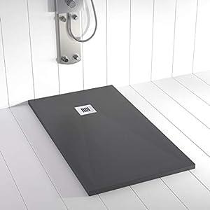 Shower Online Plato de ducha Resina PLES - 90x200- Textura Pizarra - Antideslizante - Todas las medidas disponibles - Incluye Rejilla Inox y Sifón - Antracita RAL 7011