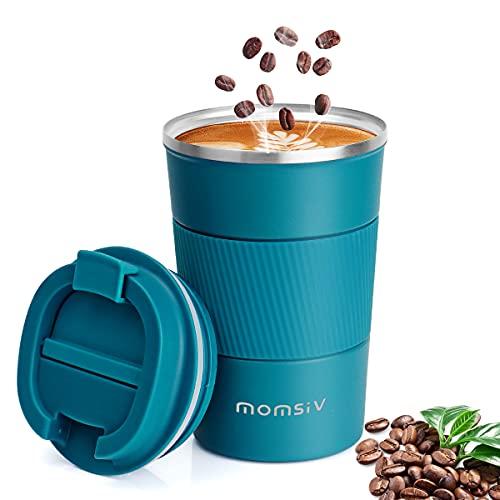 Thermobecher Isolierbecher, MOMSIV 13oz/380ml Rutschfest Edelstahl Travel Mug, Kaffeebecher aus Doppelwandig isoliert Vakuum auslaufsicher Reisebecher mit Deckel Kaffee-to-go Becher, Blau