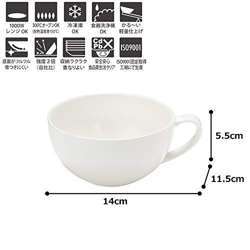 TAMAKIスープカップフォルテモアホワイト直径12×高さ6.3cm420ml電子レンジ・食洗機・オーブン対応軽量強化磁器T-661987