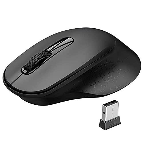 Vic Tech FL Souris sans Fil,2,4G Ergonomique Silencieuse Mini Souris avec Récepteur USB, à l'aise Interrupteur Indépendant pour PC, Ordinateur Portable,Mac, Autonomie de 18 Mois - Noir