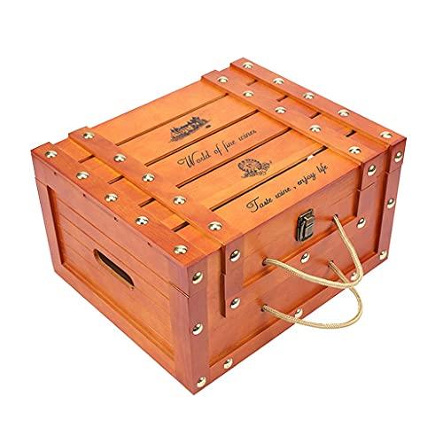 NJBYX Vintage Red Wine Box Gift Gift Champagne Portador de vinos para 6 botellas Artesanía (Color : A, Size : 35x27x19cm)