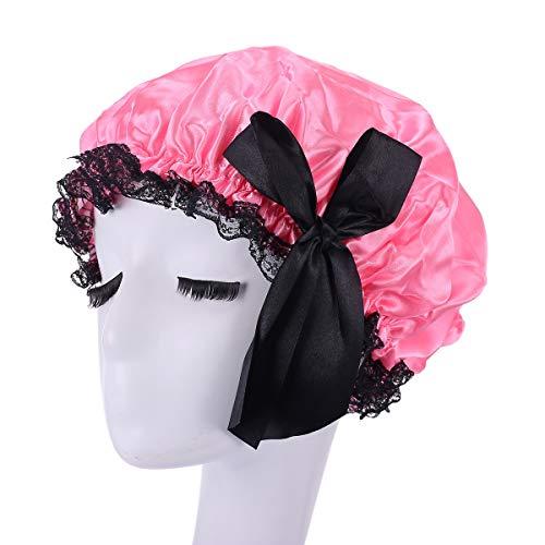 Amorar Femmes Bonnets de Douche élégants avec Noeud de Douche Chapeau Bonnet de Bain Couche Double élastique imperméable Salon Chapeau Chapeau de Bain pour Les Femmes Spa Bain