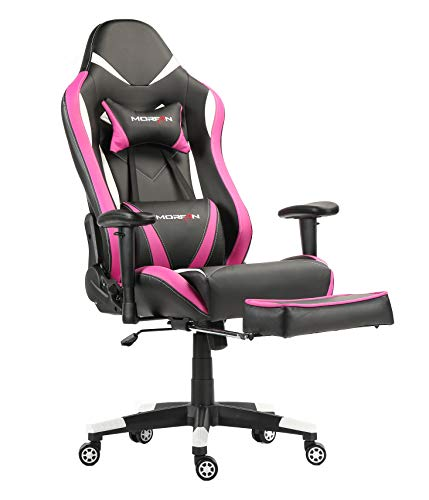 MORFAN Gaming Chair Large Size Racing Chair with Footrest Computer Office ChairYF-006 (Pink) chair footrest gaming