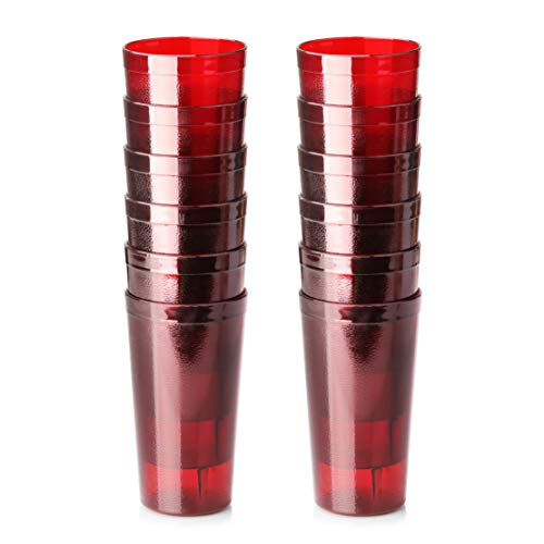 New Star Foodservice 46403 Tumbler Beverage Cup, Stackable Cups, Break-Resistant Commercial SAN Plastic, 16 oz, Red, Set of 12