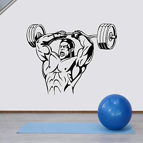 Rhpnyi Pegatinas de Pared Pegatinas de Vinilo Dormitorio Hombres Levantamiento de Pesas Fitness Gym 72x57cm