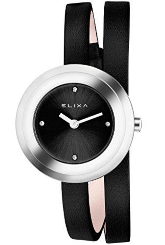 Elixa Bain de soleil E092-l353Noir Double Wrap Bracelet cuir pour femme montre