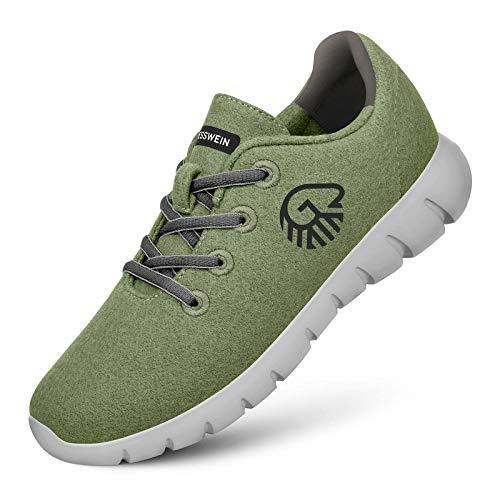 GIESSWEIN Merino Runners Men - Atmungsaktive Sneaker aus Merino Wool 3D Stretch, Leichte Herren Freizeit Schuhe mit Wechsel-Fußbett