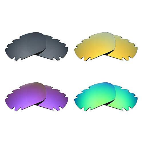 Mryok Polarisierte Ersatzgläser für Oakley Jawbone belüftete Sonnenbrille, Schwarz, IR/24K Gold/Plasma Lila/Smaragdgrün, 4 Paar