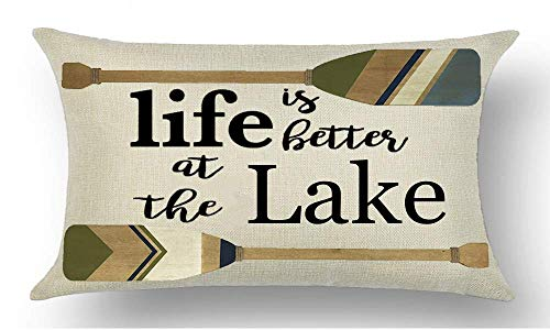 Sonernt Pillowcase Black Word Art Life is Better at The Lake Quote Brown Paddle Summer Rectangle Pillow Cover Cushion Case Hidden Zipper Two Sides Size: 20x36 in