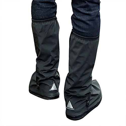 WS Waterproof Shoes Cover with Reflector Rain Snow Boots Black Reusable Covers Gear for Motorcycle Fishing-1 Pair (Style#2, XXL)