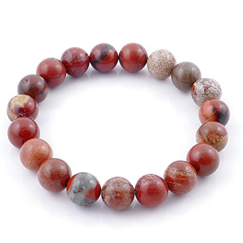 ARITZI – Pulsera elástica con Bolitas de Piedras Naturales con un diámetro de 10 mm - Jaspe Rojo