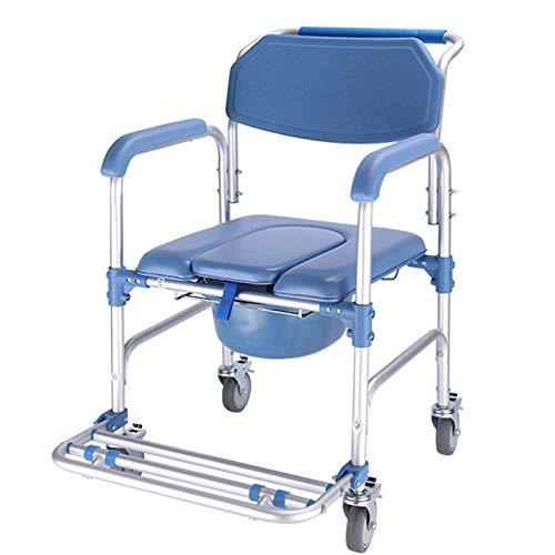 SUYUDD Toilettenstuhl Mit Rollen Auch Zum Duschen, tragbare Toilette mit Rädern, Toilettensitzkommode für Behinderte, Behinderte, Senioren und ältere Menschen