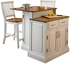 Woodbridge White Kitchen Island & 2 Stools by Home Styles