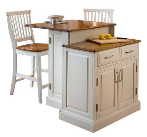 Home Styles 5010-948 Woodbridge 2-Tier Kitchen Island with 2 Stool, White Finish