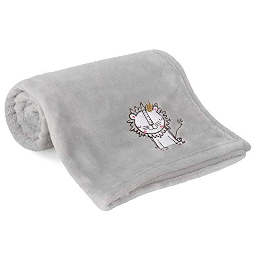TILLYOU All Season Coral Fleece Plush Baby Blanket, Lightweight Nursery Receiving Blanket for Swaddling, Covering, Cuddling, Super Soft Warm and Fluffy Little Wrap Blanket, Gray Lion, 30x40