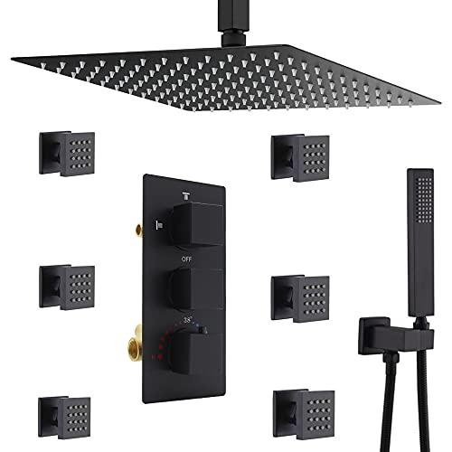 Homekicen Matte Black Shower System Multi Rain...