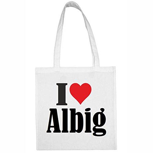 Tasche I Love Albig Größe 38x42 Farbe Weiss Druck Schwarz