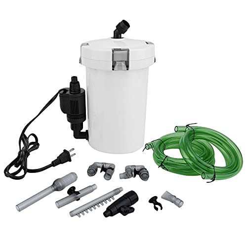 Powerdelux Aquarium Außenfilter 400L/H Pumpe Aquariumfilter Mit Biochemische Filtermaterial Filter Schwammfilter für Aquarien