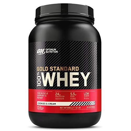 Optimum Nutrition Gold Standard 100% Whey Proteine in Polvere con Proteine Isolate, Aminoacidi e Glutammina per la Massa Muscolare, Cookies & Cream, 28 Porzioni, 0.9 kg, il Packaging Potrebbe Variare