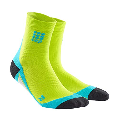 CEP - DYNAMIC+ SHORT SOCKS, Laufsocken kurz für Herren, hellgrün / blau in Größe III, Sportsocken made by medi, Made in Germany