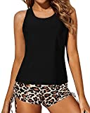 Yonique 3 Piece Tankini Swimsuits for Women Athletic Swim Tank Top with Shorts and Bra V Neck Bikini Bathing Suits Black&Leopard M