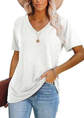 White Shirts for Women V Neck Short Sleeve Summer Tops Comfy XL