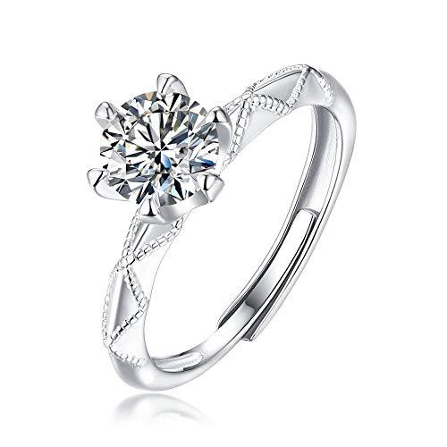 JIARU Anillo de plata de ley 925 para mujer, anillo de compromiso simple, anillo de compromiso y el juramento de amor, anillo de boda de moissanita de 0,5 quilates para niña, anillo de regalo