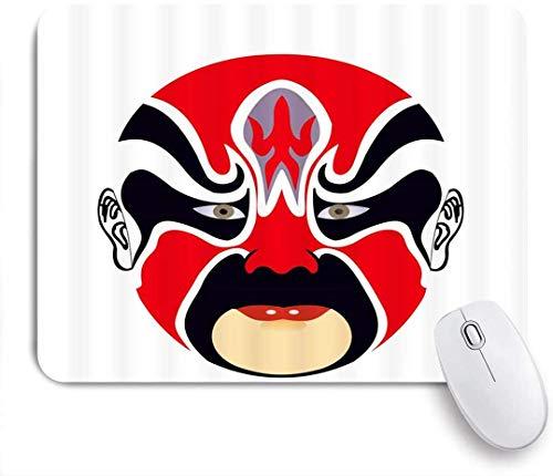 Gaming Mouse Pad rutschfeste Gummibasis, Peking Opera Facial Makeup Chinesische charakteristische Kulturmaske Farbige Ölfarbe Rolle Loyalität Integrität Symbol, für Computer Laptop Office