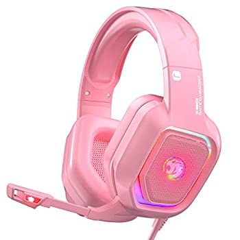 ZIUMIER Z30 Pink Gaming Headset for PS4 PS5 Xbox One PC Wired Over-Ear Headphone with Noise Canceling Microphone LED Flowing RGB Light 7.1 Surround Sound,Comfortable Earmuffs
